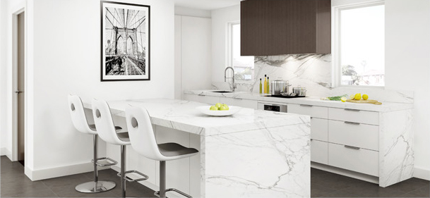 Kitchen Concepts Gallery showing statuario marble kitchen