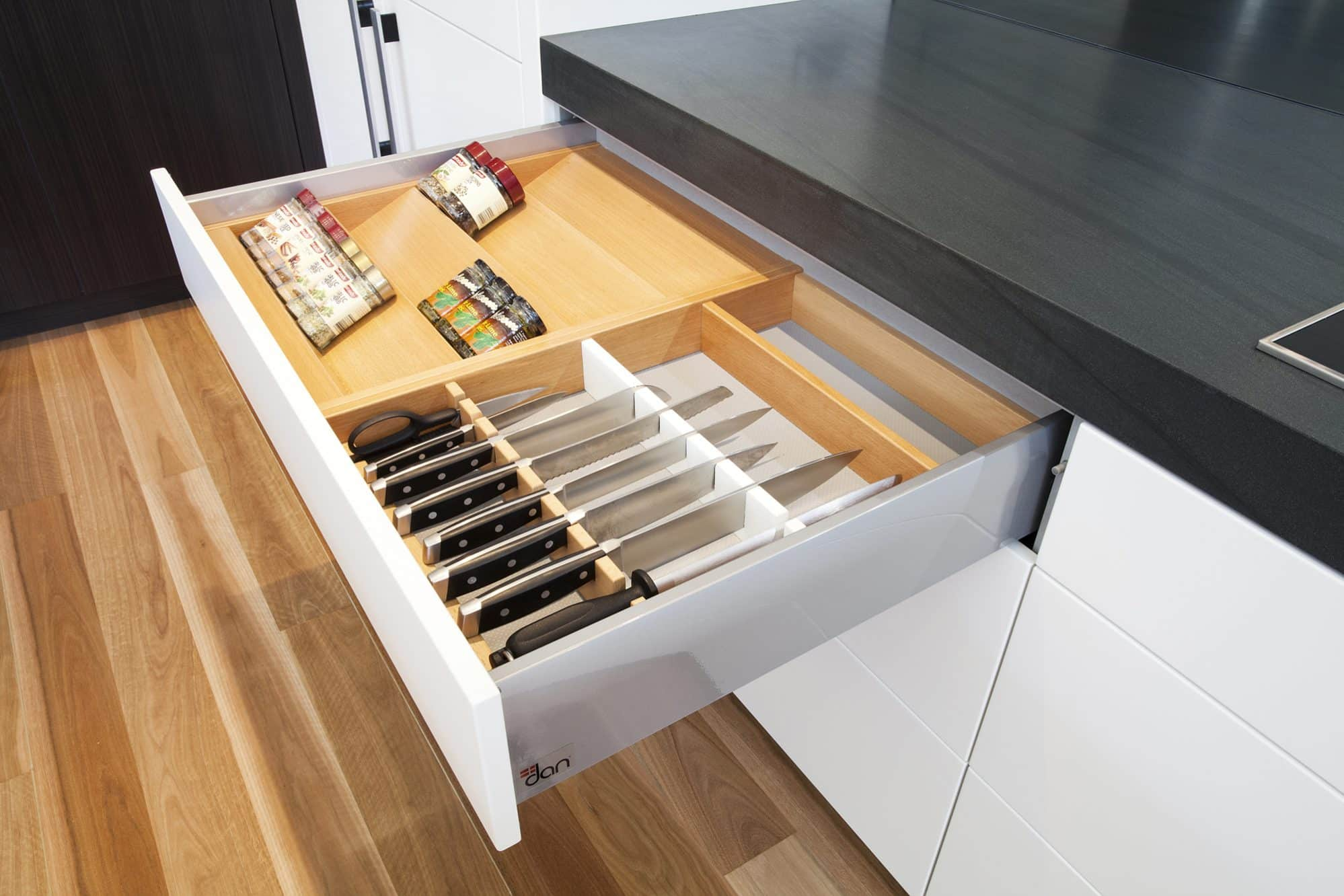 Custom timber knife drawer with spice rack