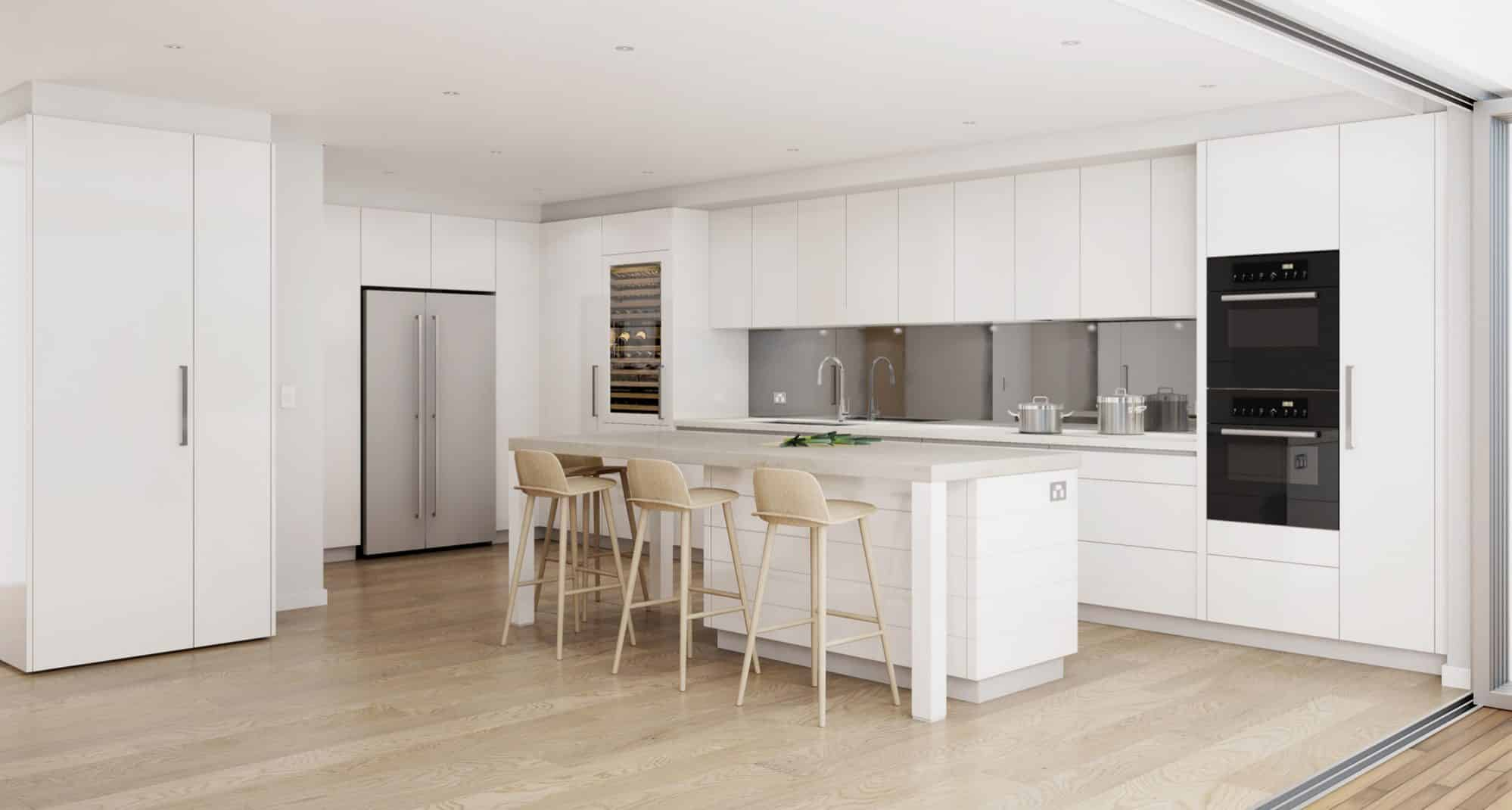 A 3D photo-realistic image of the kitchen design