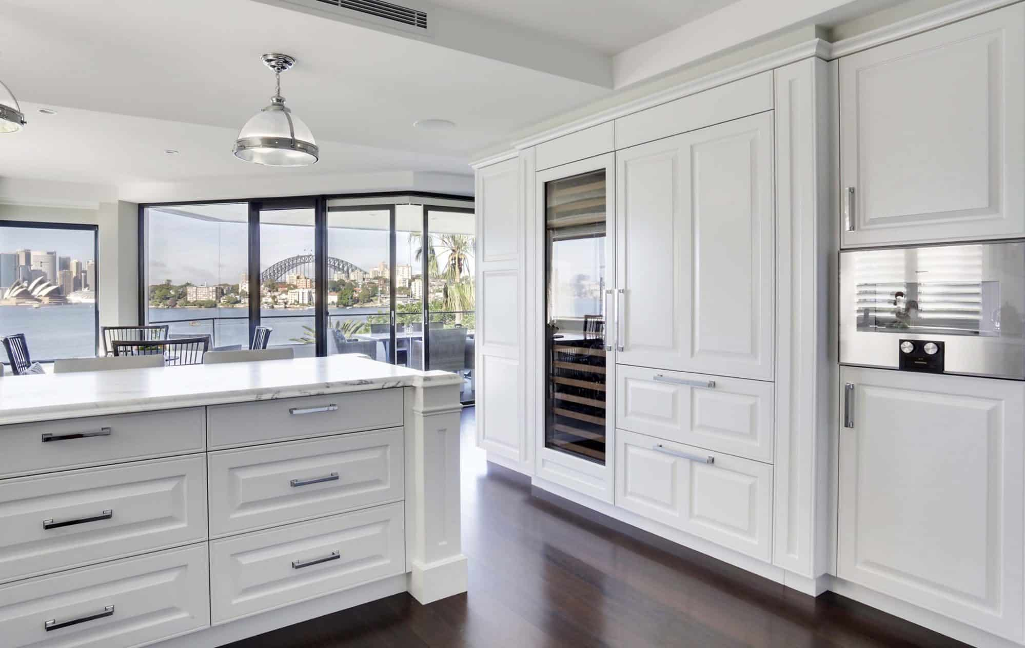Cremorne Apartment Kitchen with views of Sydney Harbour