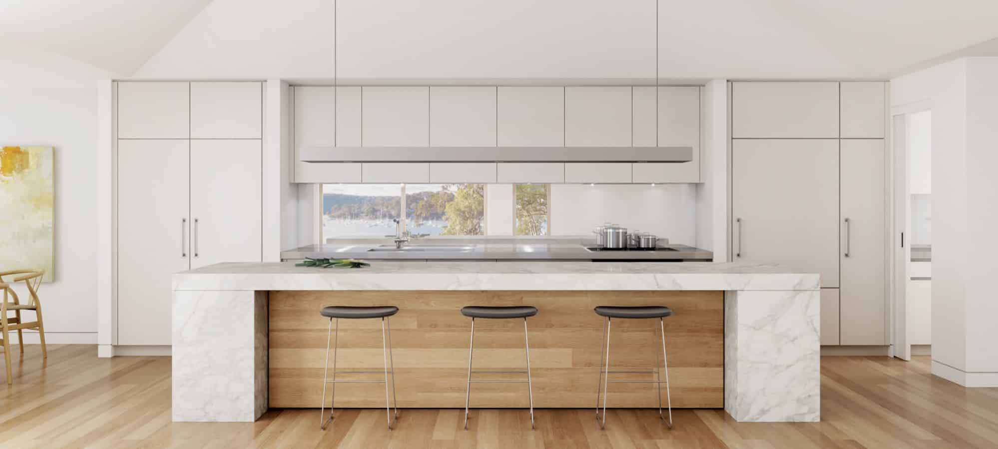 A photo realistic image of the kitchen