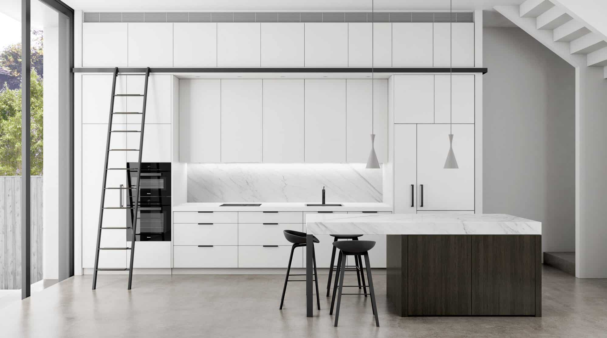 Tall narrow kitchen with black ladder on a track