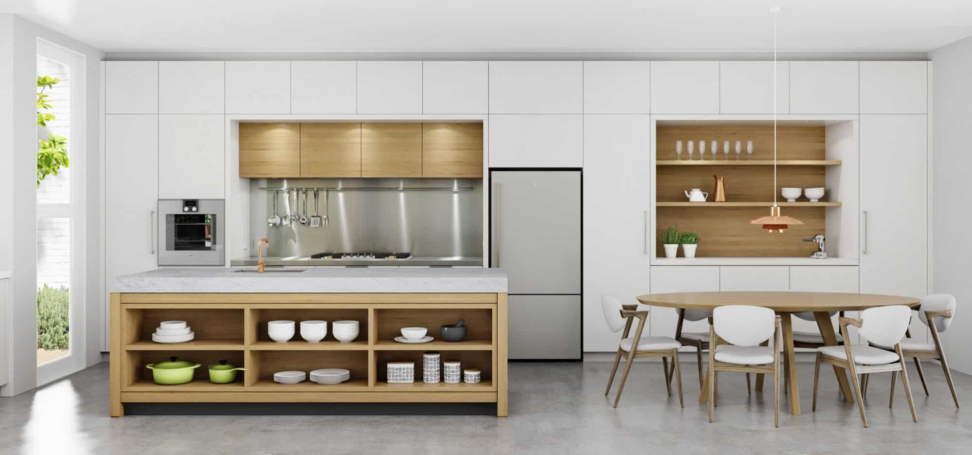 Kitchen with table style island in American Oak