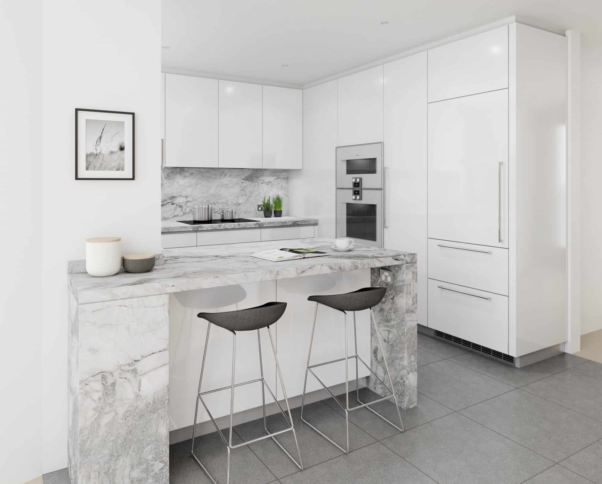 Crisp white kitchen paired with Super White granite and Gaggenau Appliances