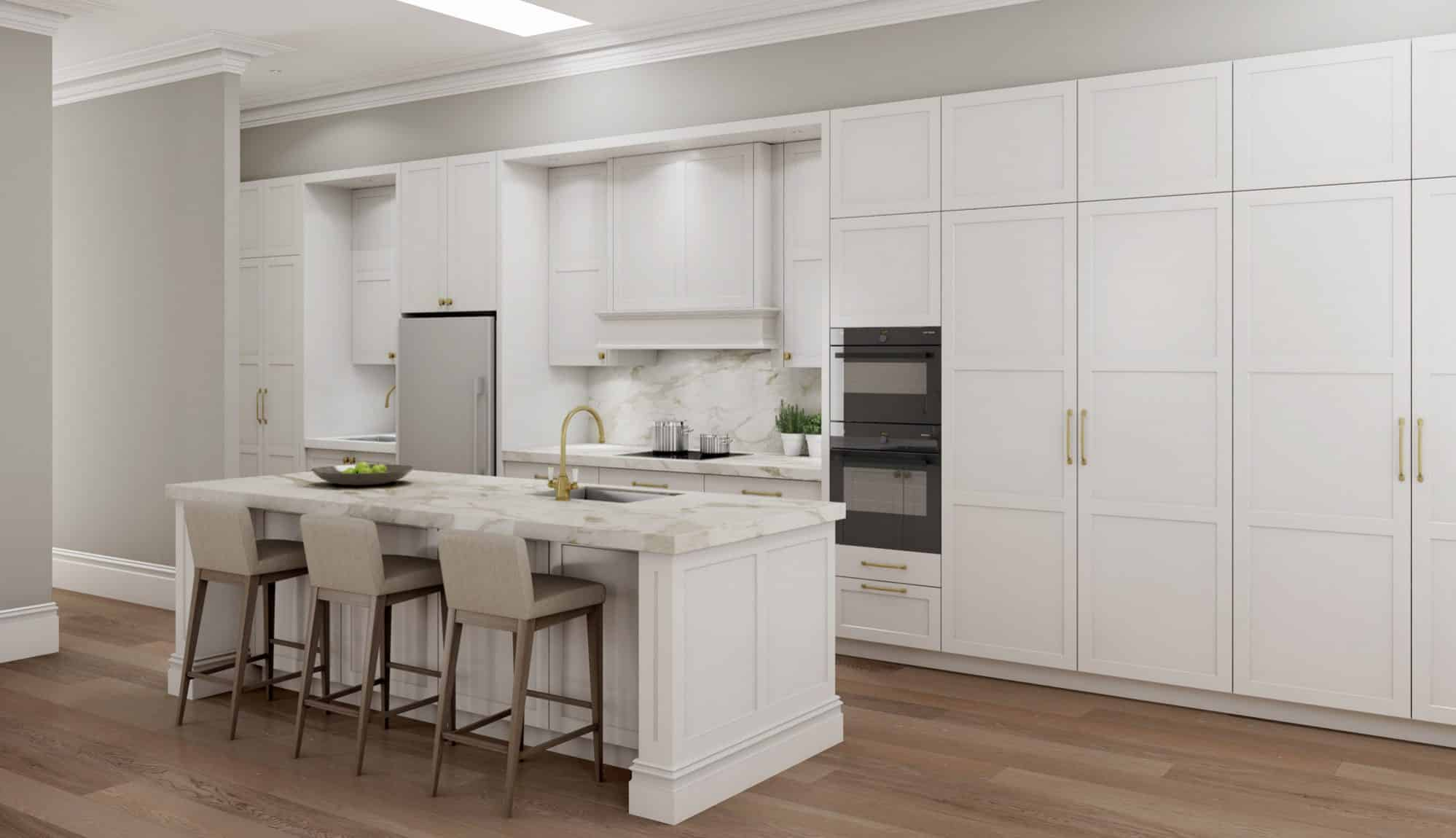 Luxury shaker profile kitchen with gold fittings