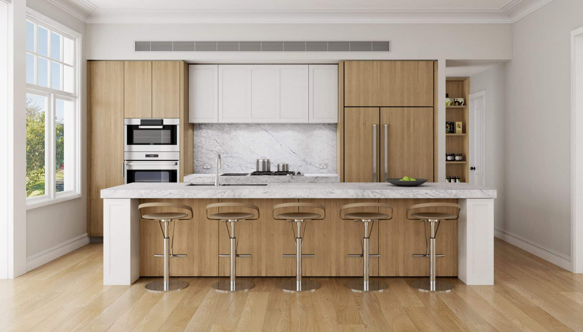 European oak kitchen with Carrara marble island
