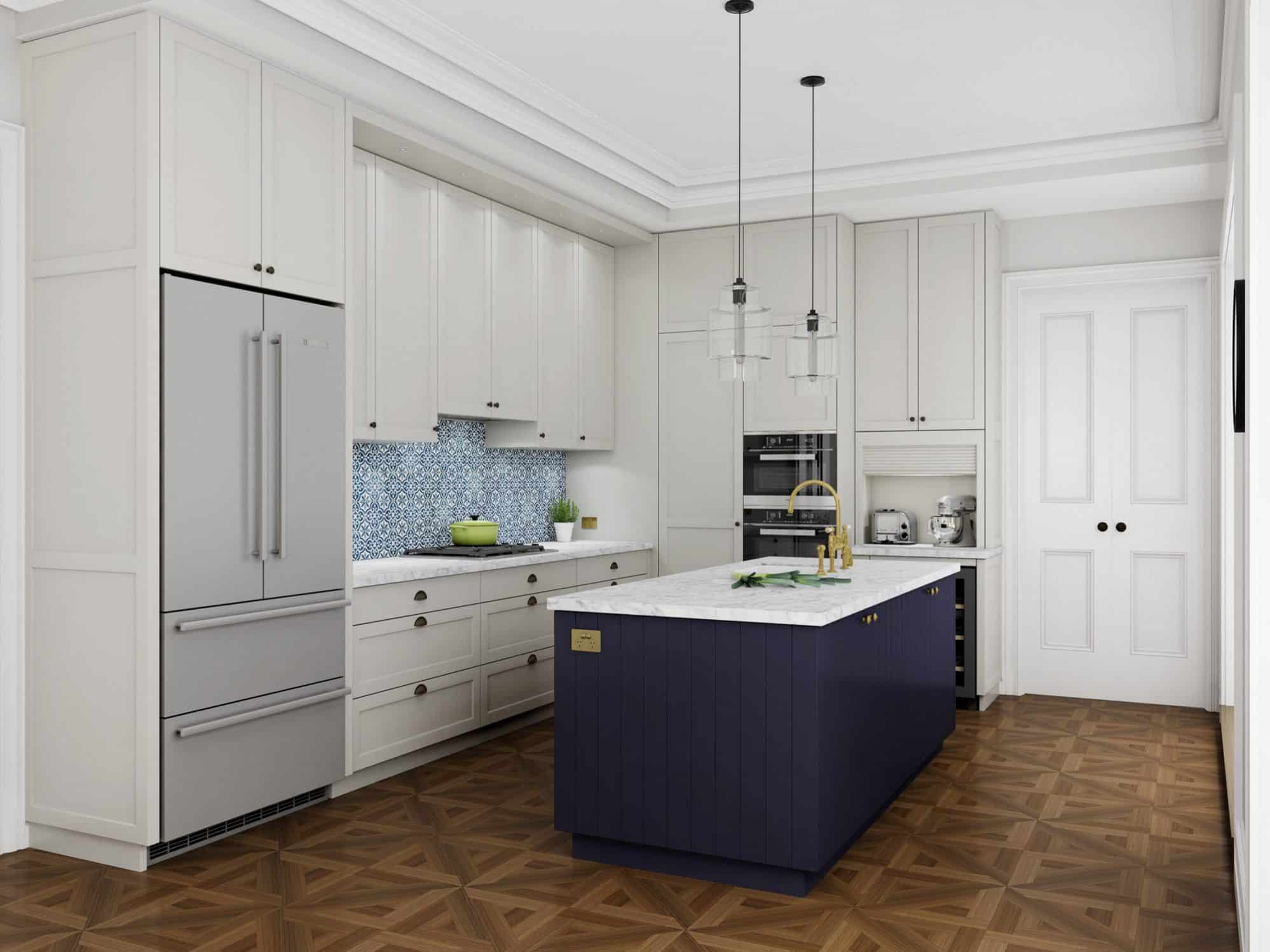 Transitional kitchen with dark blue island and eclectic finishes