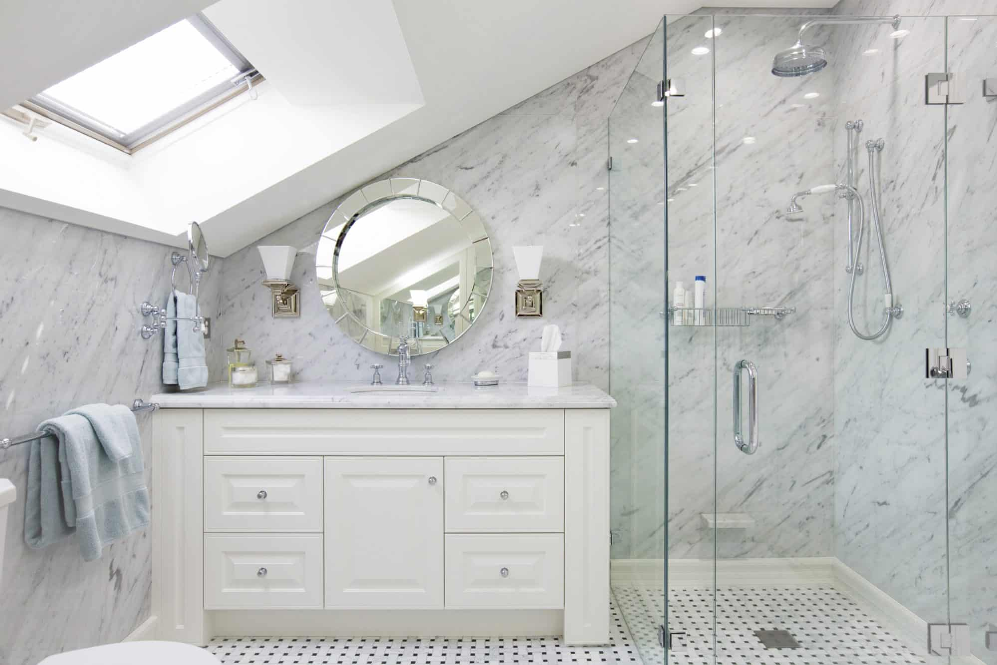 The Art Deco master bathroom