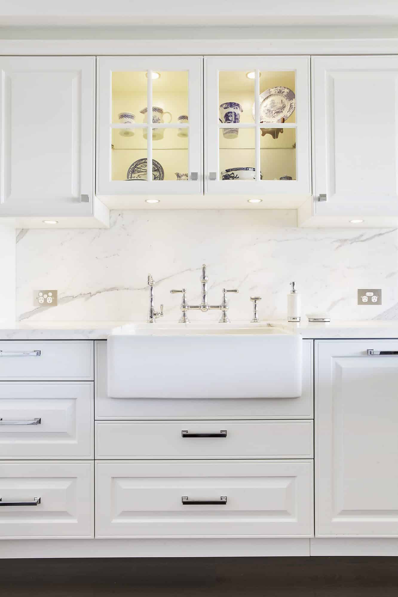 Farmhouse fireclay sink with Perrin and Rowe taps