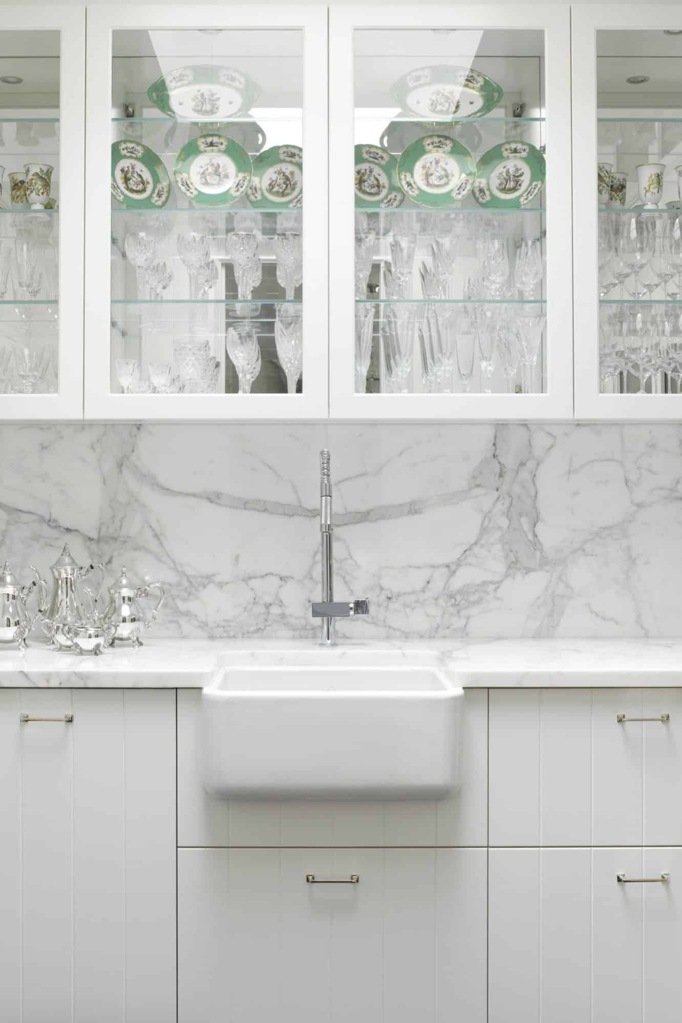 Farmhouse fireclay sink within the scullery