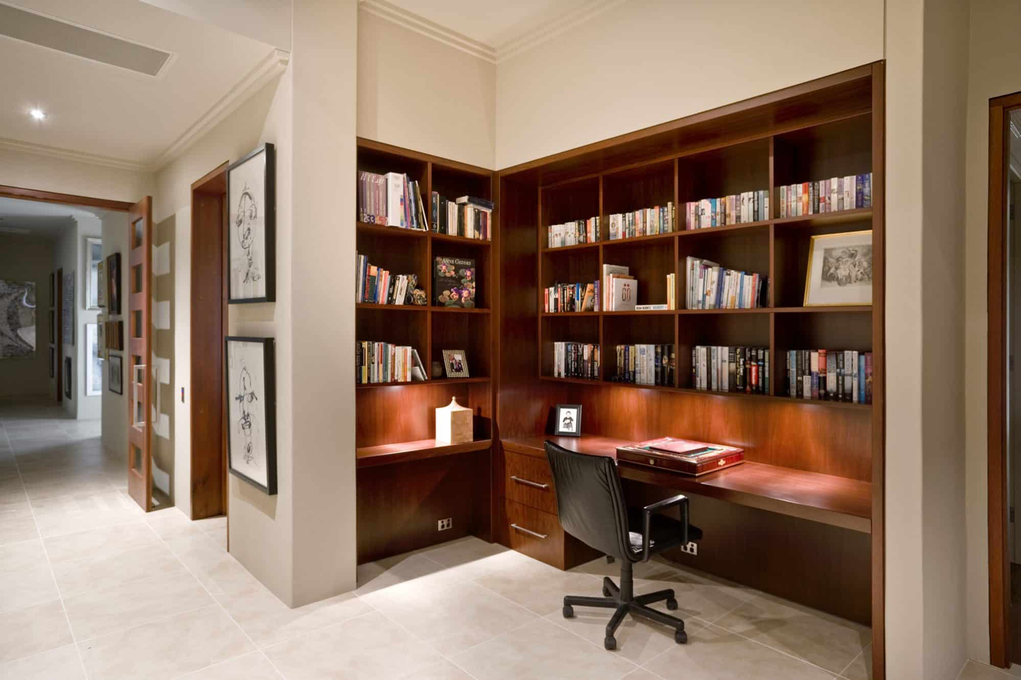 Large study nook and library in Jarrah