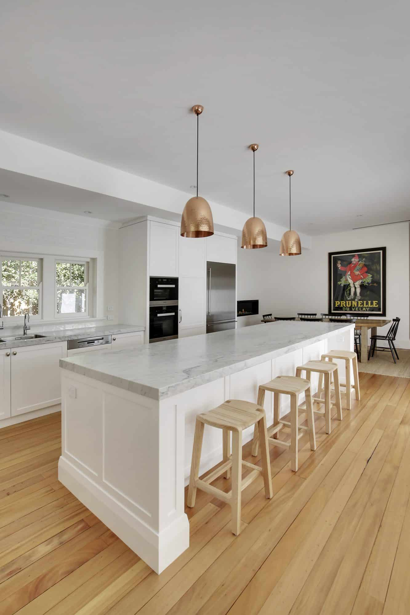 Large detailed shaker island with Carrara benchtop