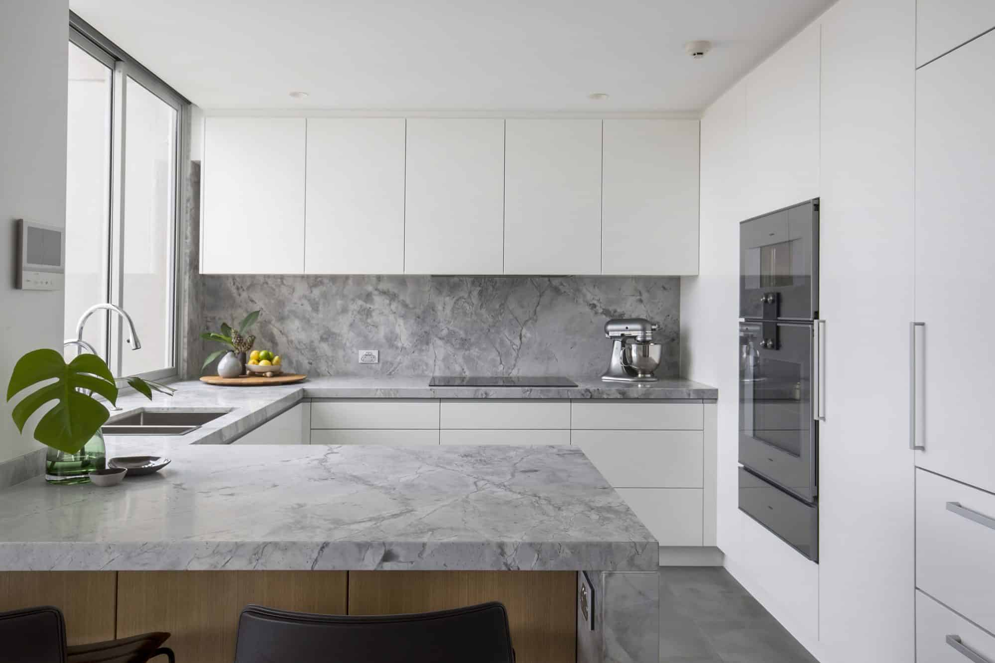 Dolamite granite is used throughout this apartment kitchen