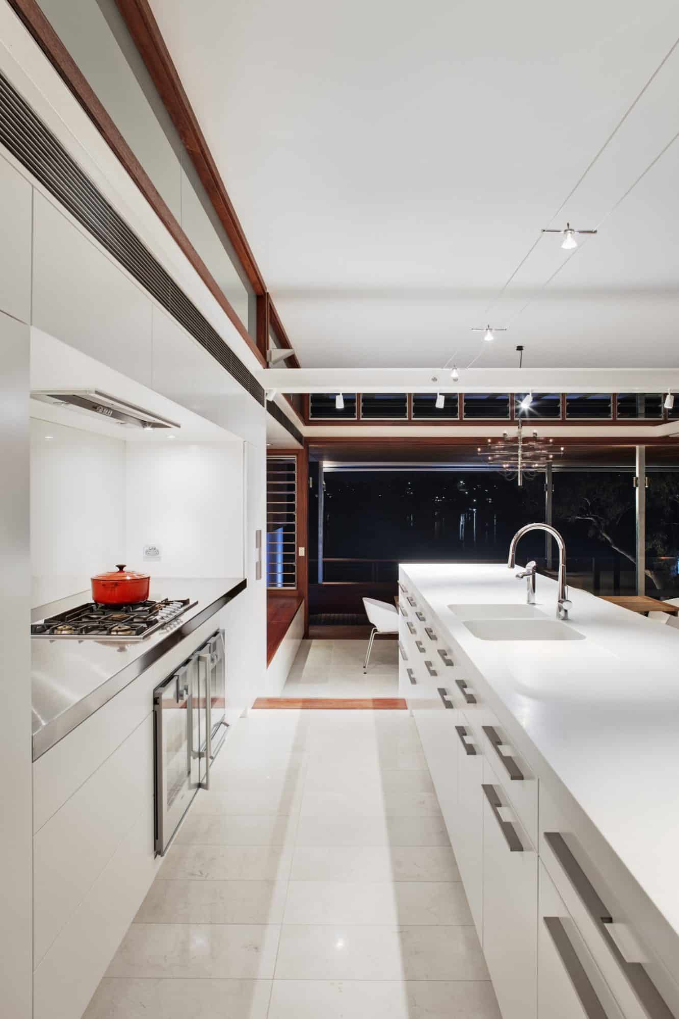 Galley shot of the modern kitchen