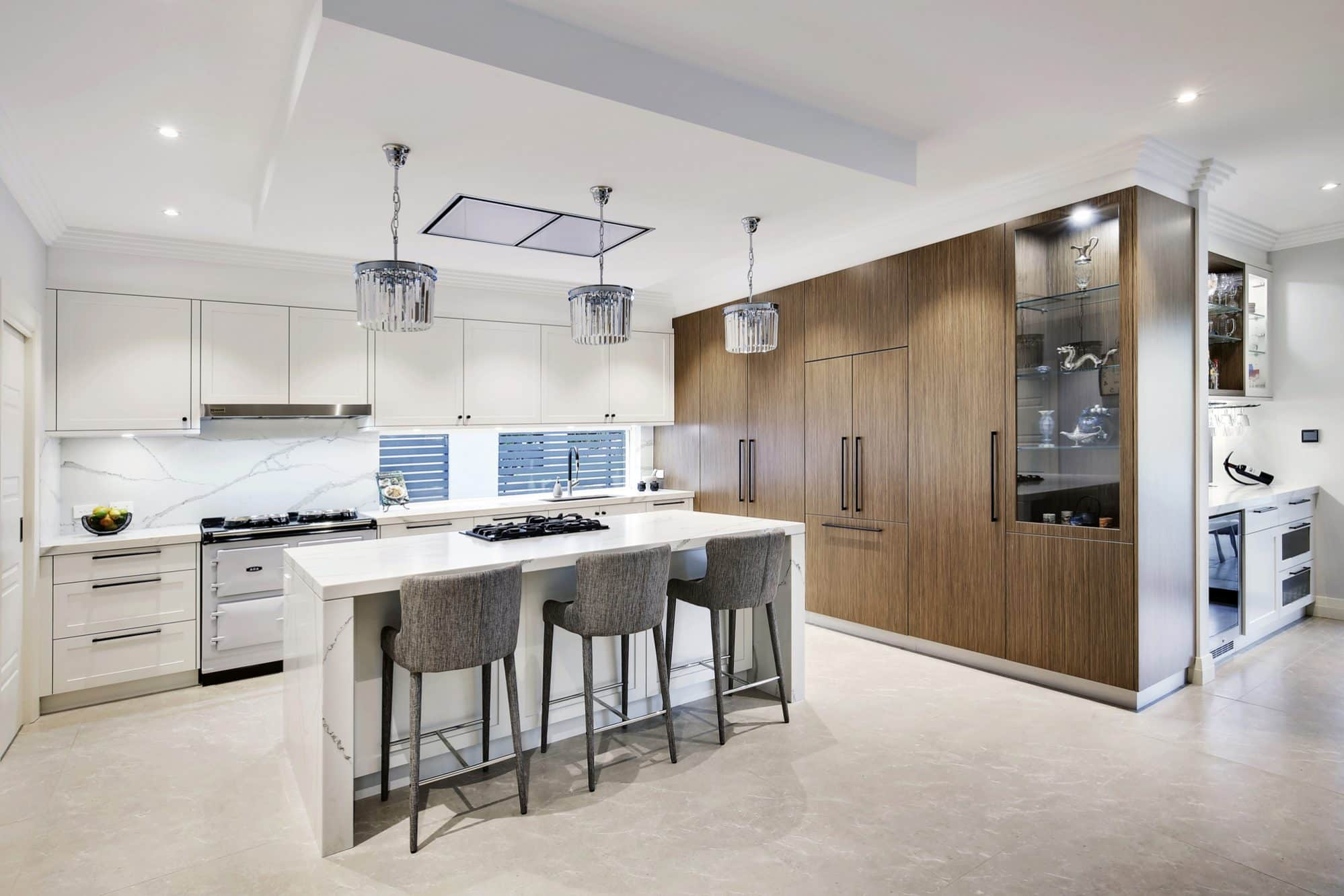 The eclectic kitchen showing a mixture of materials and fittings